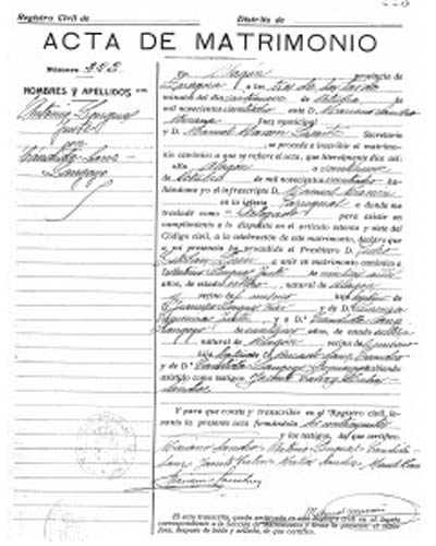 certificado de matrimonio tipo